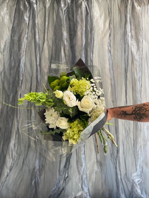 White and Green Hand-Tied